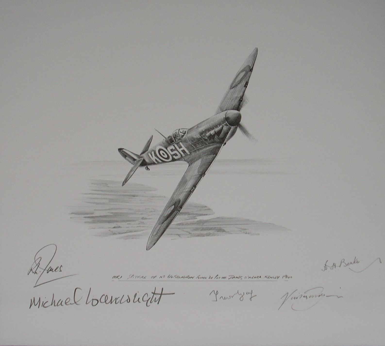 spitfire drawing. picture of spitfire 64 squadron battle britain original drawing