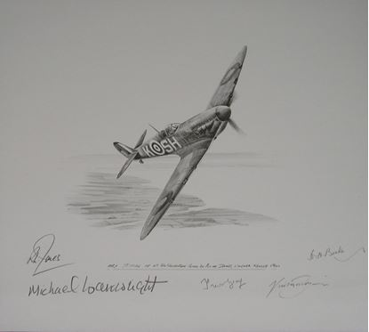 Picture of Spitfire of 64 Squadron Battle of Britain Original Drawing