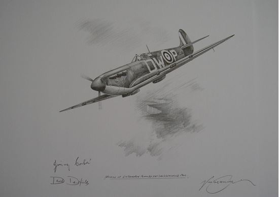 Picture of Spitfire of 610 Squadron Original Pencil Drawing