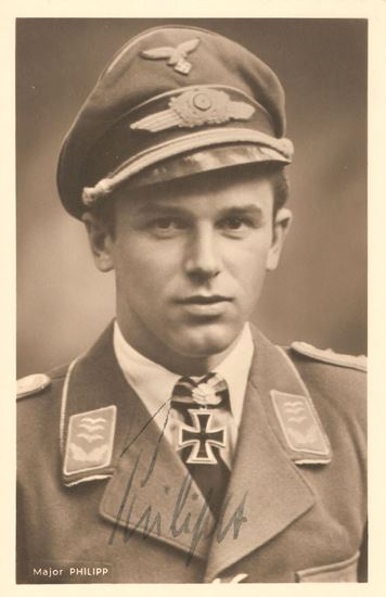 Picture of Hans Philip JG54 Wartime Signed Hoffmann Card SOLD