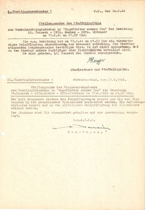 Picture of Johannes Hager & Von Bonin Original wartime Report Dated June 1944