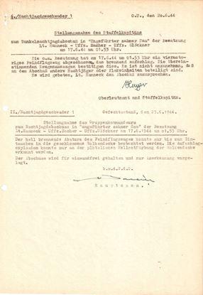 Picture of Johannes Hager & Von Bonin Original wartime Report Dated June 1944