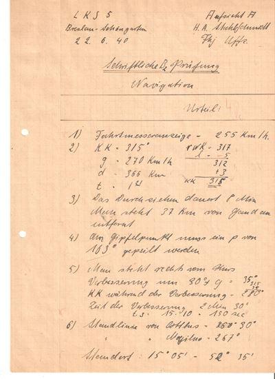 Picture of Hans-Arnold 'Fiffi' Stahlschmidt JG27 - Wartime Navigation document
