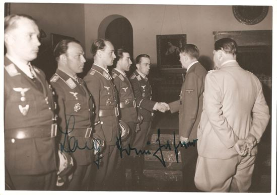 Picture of Anton Hafner and Emil Lang Wartime Signed Original Hoffmann Photo of Oak Leaves Presentation Ceremony