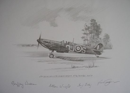 Picture of Spitfire 1a of Allan Wright 92 Squadron - Original Pencil Drawing by Nicolas Trudgian
