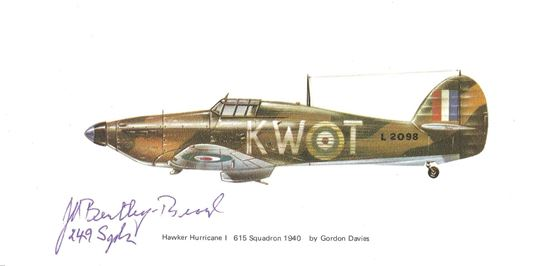 Picture of John BENTLEY-BEARD  249 Squadron Battle of Britain Signed Postcard