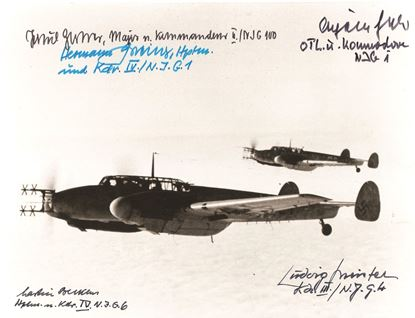Picture of Luftwaffe Nightfighter Photo Signed 5 Becker/Greiner/Jabs/Meister and Zorner