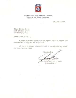 Picture of General James 'Jumping Jim GAVIN US 82nd Airborne Division - signed Letter