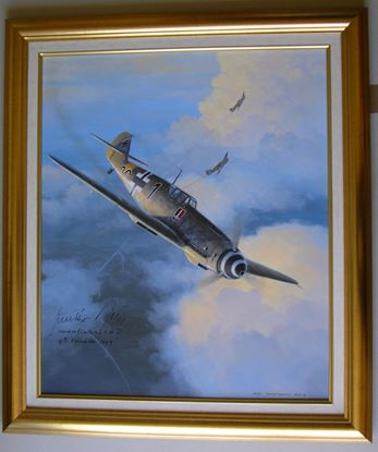 Picture of Gunther Rall's Me109G 'Black 1' By Mark Postlethwaite  - Original Oil on Canvas