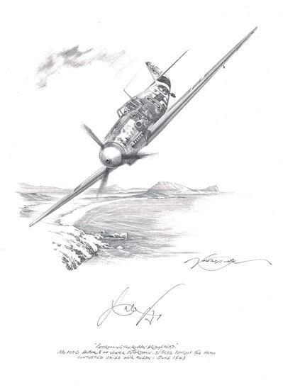 Picture of Patrolling The Kuban Bridgehead - the Me109G of Viktor Petermann - Original Pencil Drawing by Nicolas Trudgian