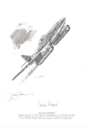 Picture of One of the 'Experts' - the Me262 of Walter Krupinski - Original Pencil Drawing by Nicolas Trudgian SOLD