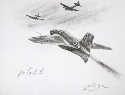 Picture of The Me163 of Franz Woidich - Original Pencil Drawing by Nicolas Trudgian SOLD