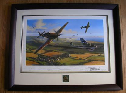 Picture of HOLDING THE LINE By Nicolas Trudgian Multi-Signed Remarque Framed