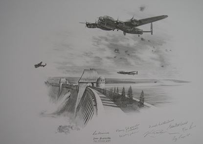 Picture of DAMBUSTERS - The Mohne Dam - Original Pencil Drawing by Nicolas Trudgian SOLD