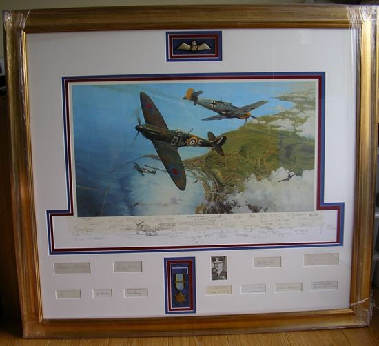 Picture of THE BATTLE FOR BRITAIN by Robert Taylor - Remarque Multi-Signed Collectors Piece - Dowding Bader Tuck Deere SOLD