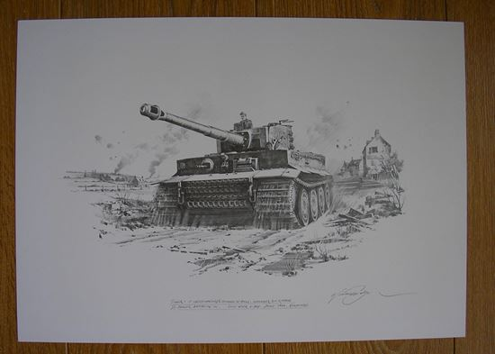 Picture of WITTMANN'S TIGER IN NORMANDY by Nicolas Trudgian Original Drawing