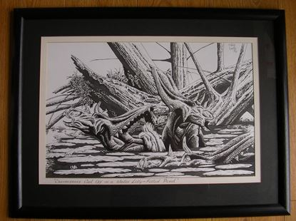 Picture of CHASMOSAURS COOL OFF IN A WATER LILLY FILLED POND - ORIGINAL ART by Steve White