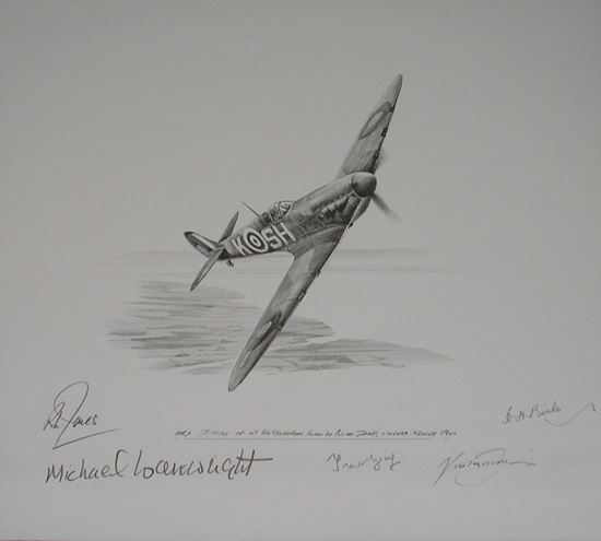 Picture of Spitfire 1a of 64 Squadron Battle of Britain - Original Pencil Drawing by Nicolas Trudgian SOLD