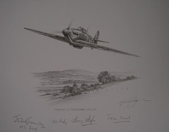 Picture of Hurricane of 249 Squadron - Original Pencil Drawing by Nicolas Trudgian