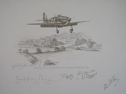 Picture of Hurricane of Geoffrey Page 56 Squadron - Original Pencil Drawing by Nicolas Trudgian