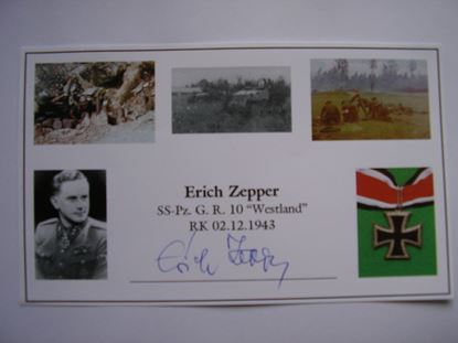 Picture of ERICH ZEPPER Knights Cross 5th SS Panzer Division 'Wiking' SOLD