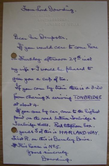 Picture of HUGH DOWDING - Original Handwritten and Signed Letter