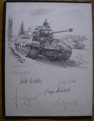 Picture of King Tigers In The Ardennes Original Drawing by Nicolas Trudgian on Wartime paper Signed Peiper, Dietrich, Meyer, Witt & Kraas