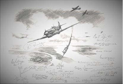 Picture of TIGER SQUADRON - 74 Sq. in the Battle of Britain - Original Pencil Drawing by Nicolas Trudgian - Signed by 22 Pilots