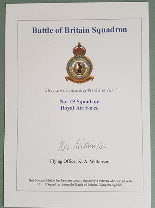 Picture of BATTLE OF BRITAIN SQUADRON BOOKPLATE - Ken WILKINSON 19 Squadron