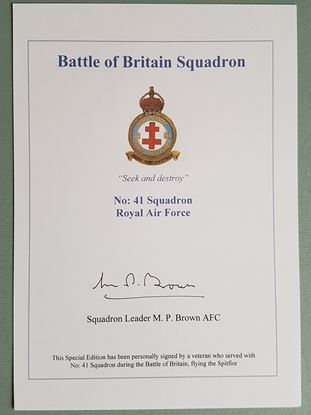 Picture of BATTLE OF BRITAIN SQUADRON BOOKPLATE - Maurice Peter BROWN 41 Squadron