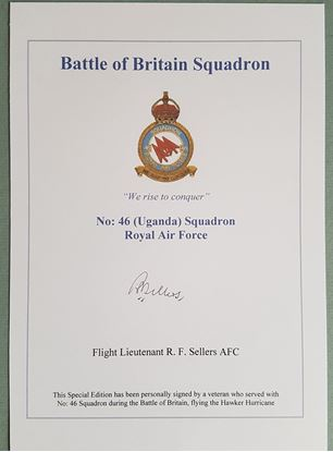 Picture of BATTLE OF BRITAIN SQUADRON BOOKPLATE - Raymond SELLERS 46 Squadron